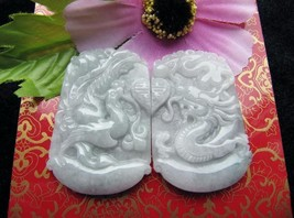 100% natural white jade  dragon Phoenix good luck gift Couples Pendants - $59.40