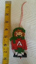 GIRL w letter A Puzzle Wooden Christmas Tree Ornament Hanging • Pre-owne... - $13.81