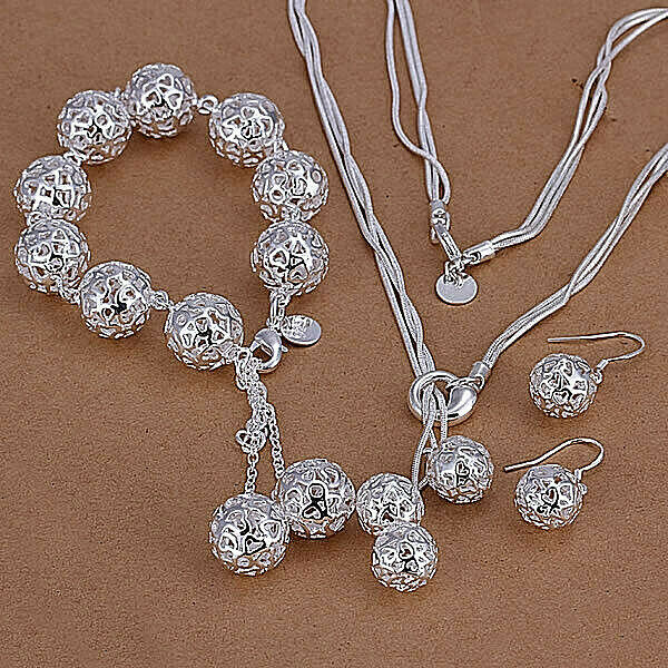 Primary image for Hollow Ball Necklace Bracelet And Earrings Set 925 Sterling Silver