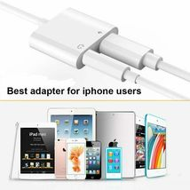 iPhone 7 Adapter 3.5mm Aux Jack Headphone Earphones Audio Splitter White Cable image 3