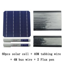 Diy Kit Solar Panel 60pcs Monocrystalline Cell with Busbar Tabbing Wire ... - $185.96