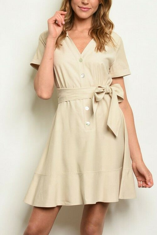 Women Taupe Dress with side tie