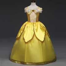 Cute Yellow Belle Pricess Flower Girls Dresses Tulle Cosplay Party Gowns... - $23.55