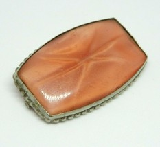 Vintage Satin Glass Brooch Pink Star Sapphire Early C Clasp Pin Brooch - $29.69