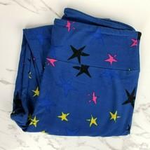 Lularoe OS One Size Blue Stretch Pink Black Yellow Star Print Stars Legg... - $12.86