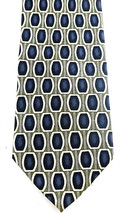 Louis Roth Necktie Tie Silk Blue Black Geometric Shapes Long Wide Korea VTG - $9.49