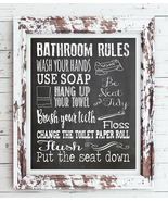 BATHROOM RULES 8x10 Typography Art Print, Choice of 8 Colors - $6.00+