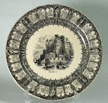 """Antique Hirmskretschen Black & White 8"""" Plate Czech Republic - $9.99"""