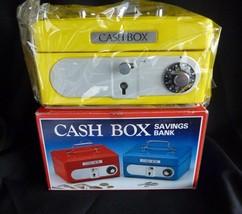 Vintage Yellow Metal Cash Box Bank Combination 2 keys - $19.55