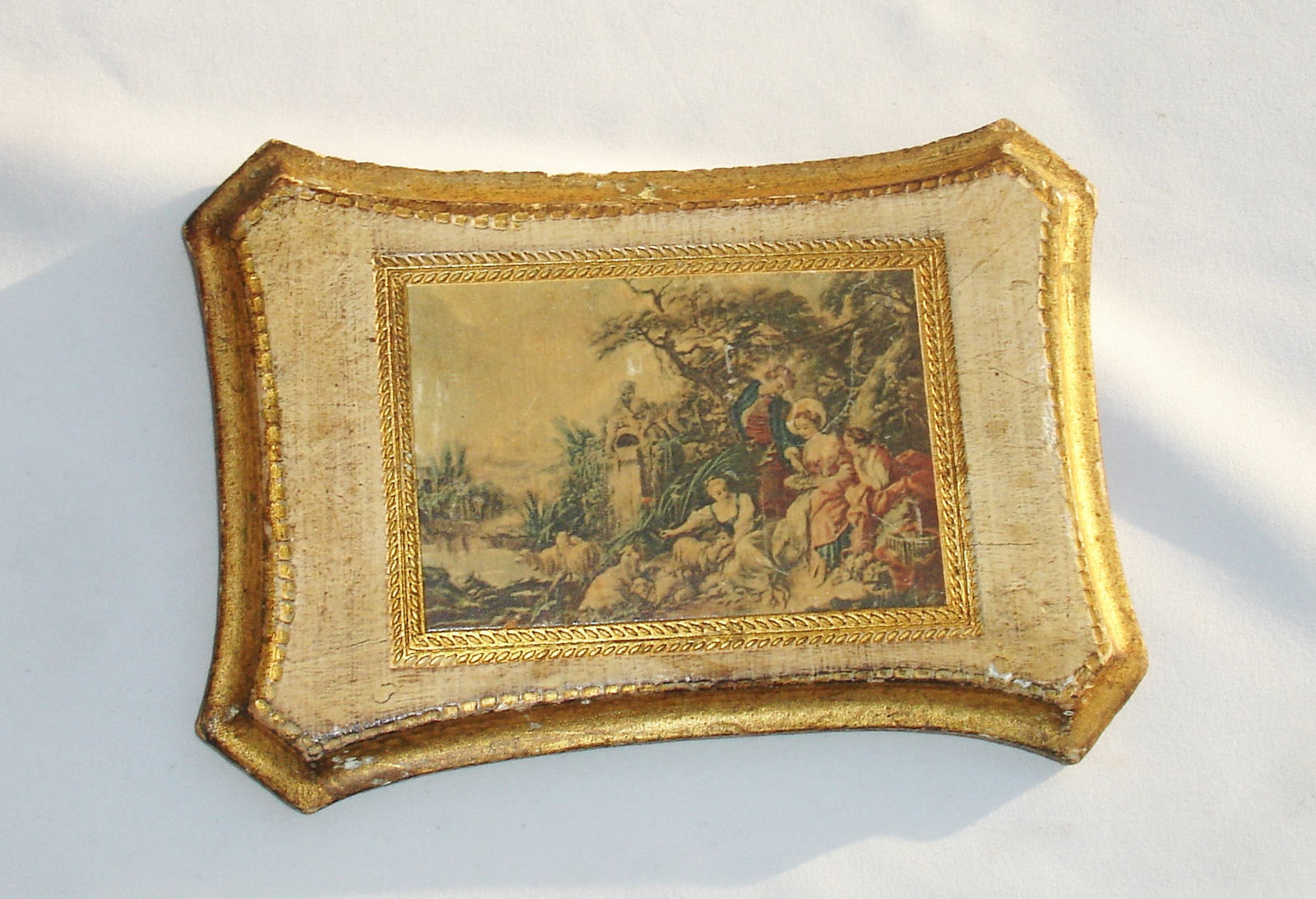 Small Vintage Italian Florentine Wooden Wall Hanging