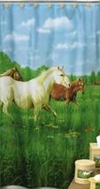 Shower Curtain Horses Prairie Meadows Fabric Western Cowboy Creative Bath  - $39.59