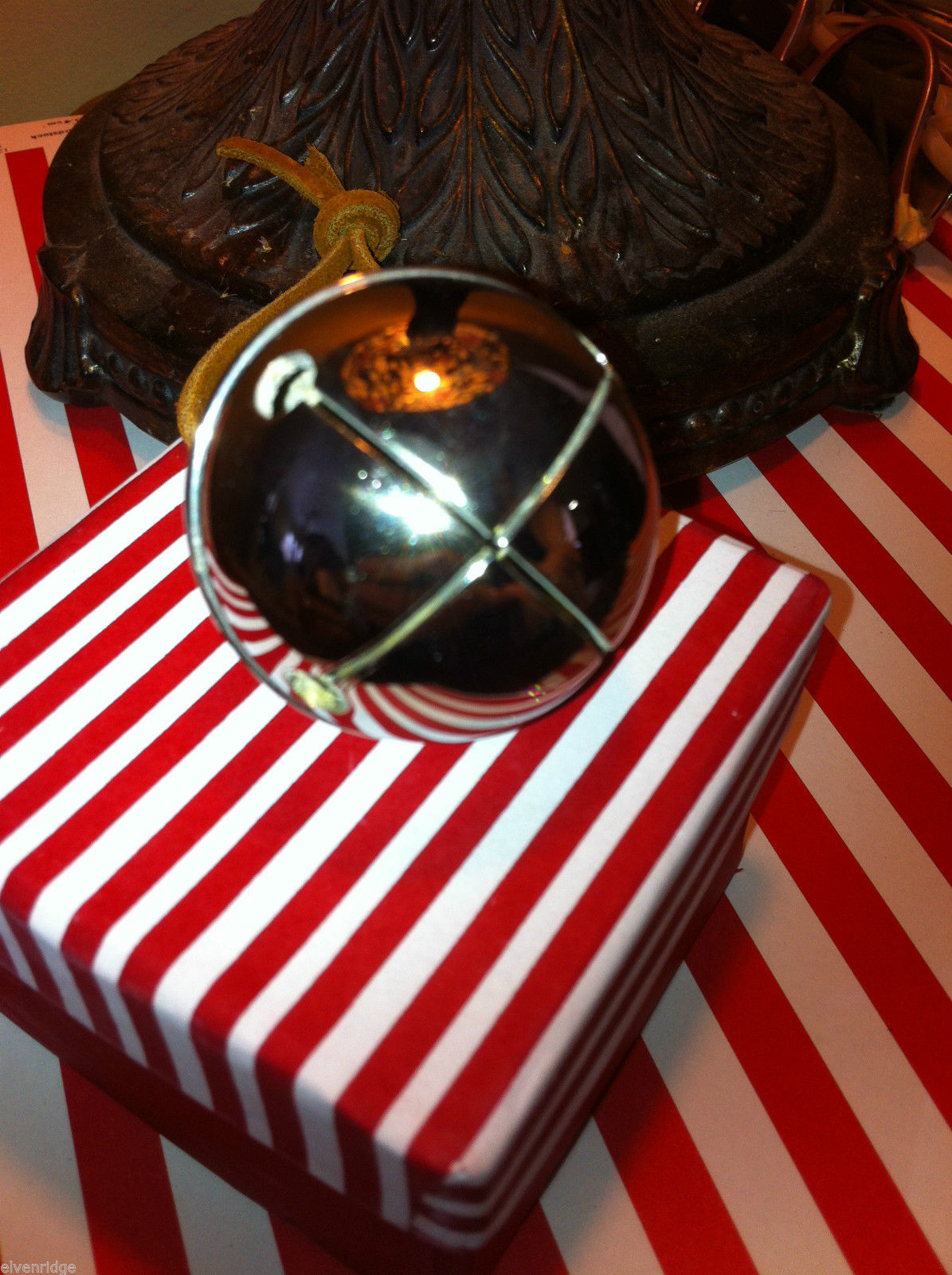 Polar bear Express SILVER Chrome Round BELIEVE Bell in striped elf deco box 2nds