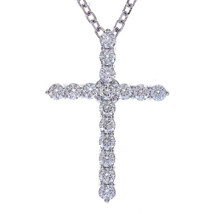 "2.25 Carat Round Diamond Cross on 20"" Cable Chain 14K White Gold - $2,315.61"