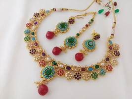 Indian fashion jewelry Bollywood Necklace Set with Tikka Ethnic Gold Plated Trad - $24.99