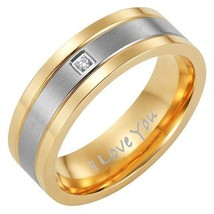 Men's Two Tone Titanium with CZ Ring Engraved I Love You 363 - $399.99