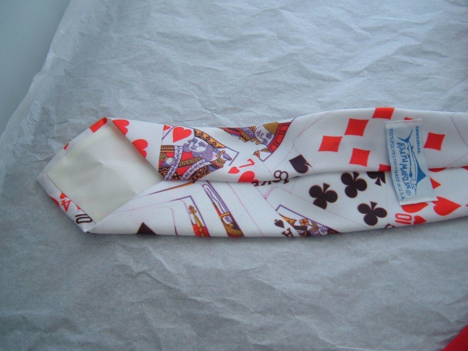"Ralph Marlin Poker Cards Mens Neck Tie 56"" Gambler Vintage 1991 polyester"