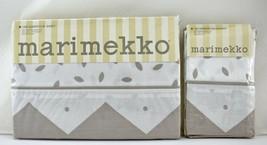 Marimekko Queen Flat Sheet Pillowcases - Dune Design White Tan - 1990 NE... - $75.95