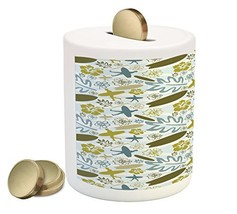 Luau Piggy Bank by Ambesonne, Beach with Silhouette of Surfer Waves and ... - $30.63