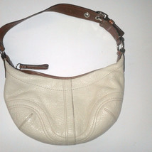 Coach Off White Mini Pebbled Leather Hobo Purse F-12298 - $24.99