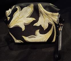 Clutch Bag/Wristlet/Makeup Bag - Red Rose Applique on Black & Gold Brocade image 2