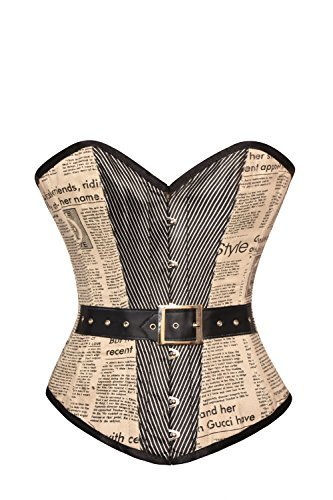 Primary image for Retro Vintage Cotton Newspaper Print, Halloween Steampunk Corset Overbust Top