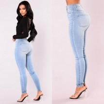 High Waisted Front and Back Pockets Zip Up Light Blue Denim Skinny Jeans Pants