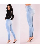 High Waisted Front and Back Pockets Zip Up Light Blue Denim Skinny Jeans... - €38,05 EUR