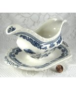 Masons Manchu Gravy Boat With Attached Plate 1940s Blue Transferware - $48.00