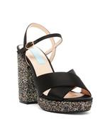 New Betsey Johnson Sandals Heels Glitter Black Satin Womens 6.5 Blue Pin... - $51.60