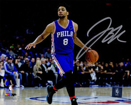 Jahlil Okafor signed Philadelphia 76ers 8x10 Photo (horizontal blue jers... - $16.95