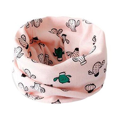 2PCS Children Scarves Warm Neckerchiefs Cactus Pattern Cotton Scarves Pink