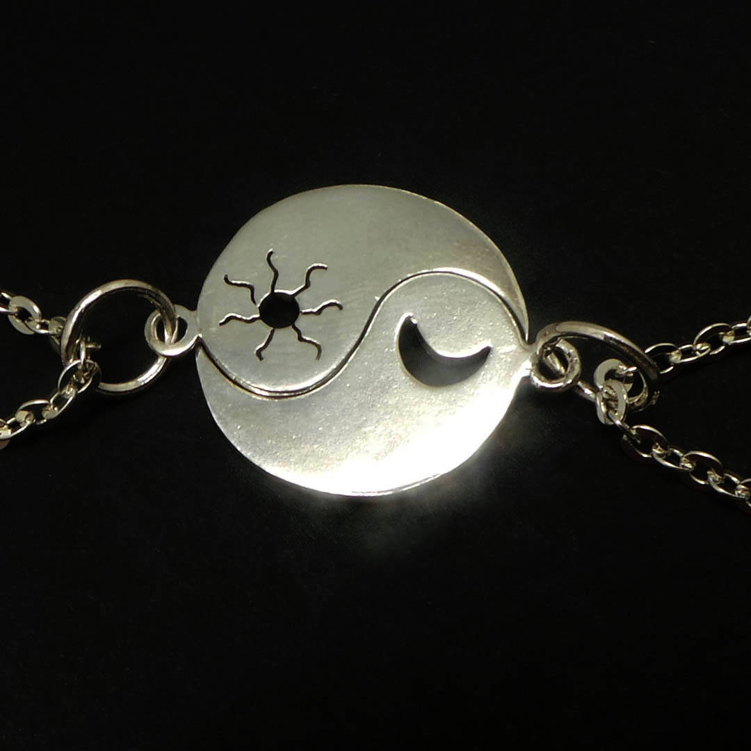 Primary image for Handmade 925 Sterling Silver Yin Yang Sun Crescent Moon Necklace Set