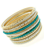 Cable Cabo Twisted Gold Tone Seed Bead Turquoise White Bangle Bracelet Set of 15 - $19.97