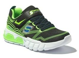 Skechers S Sport Flinn Ragazzi Nero Verde Si Illumina Luci Sneaker Scarpe