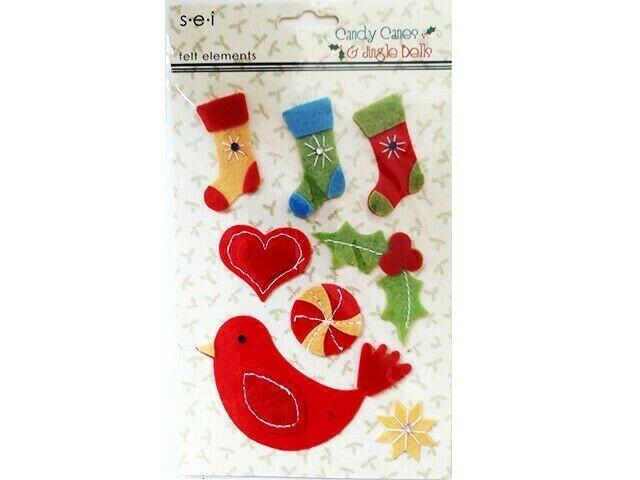 "SEI Felt Elements Christmas Stickers ""Candy Canes & Jingle Bells"", Set of 8"
