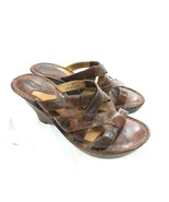 BORN Shoes Sandals Platform Wedge Heels Marble Leather Strappy Open Toe ... - $28.01
