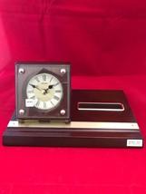 Seiko Wooden Desk Table Clock Card Holder Pen Holder Quartz QXG118BLH - $32.66