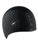 Speedo Silicone Textured Bubble Swimming Swim Cap, Black, UV Protection ... - $15.32