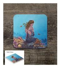 Brunette Mermaid on the Reef Square Sandstone Table Coaster - $6.00