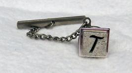 Swank Tie Clasp Chain Tack Silver Tone Monogram Letter T Square Block Vi... - $34.27