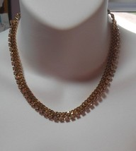 Gold tone Chain Link and Clear Rhinestone Choker Necklace  - $34.65