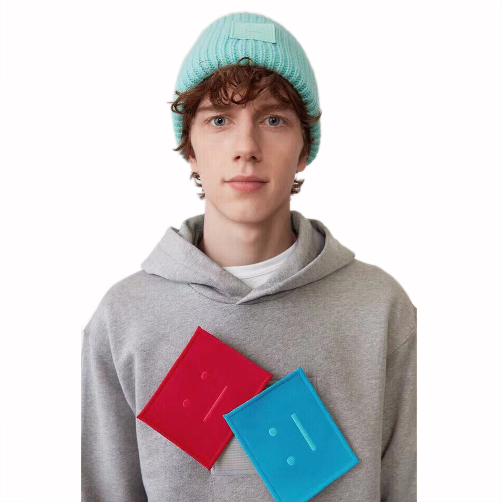 Unisex Three Color Face patch Cotton-jersey Gray Sweatshirt Hoodie