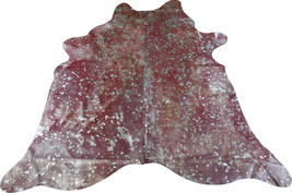 Red Cowhide Rug Size: 7' X 7' Silver Metallic Acid Washed on Red Rug M-183 - $236.61
