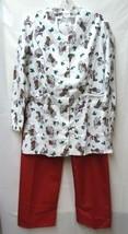 Premier Uniforms Sm V Neck Dalmation Stockings Red Pants Medical Scrub Set New - $21.53