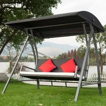 Modern Swing Outdoor Lounge Chair 3 Seats Garden Patio PE Wicker Glider ... - $365.48
