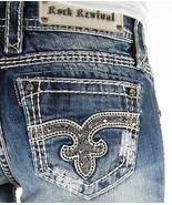ROCK REVIVAL Jeans Sale Low Rise Venus Embellished Bootcut Stretch Jean ... - $65.43