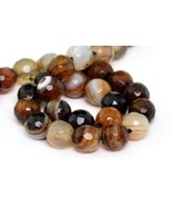 6mm Natural Brown Cracked Agate Beads Grade A Faceted Round Loose Beads ... - $16.42