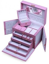 SHINING IMAGE HUGE PINK LEATHER JEWELRY BOX / CASE / STORAGE / ORGANIZER... - $100.56