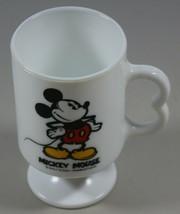 Mickey Mouse Vintage Milk Glass Pedestal Mug 8oz Frosted Cup Walt Disney  - $15.38