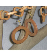 American Made!  Wood Circle Earrings, Stained Oak with Gold Plated Findings - $15.95